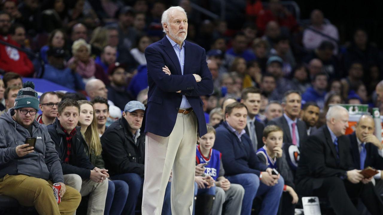 PHILADELPHIA, PA - JANUARY 3: Head coach Gregg Popovich of the San Antonio Spurs follows the game against the Philadelphia 76ers in the first half at Wells Fargo Center on January 3, 2018 in Philadelphia, Pennsylvania.