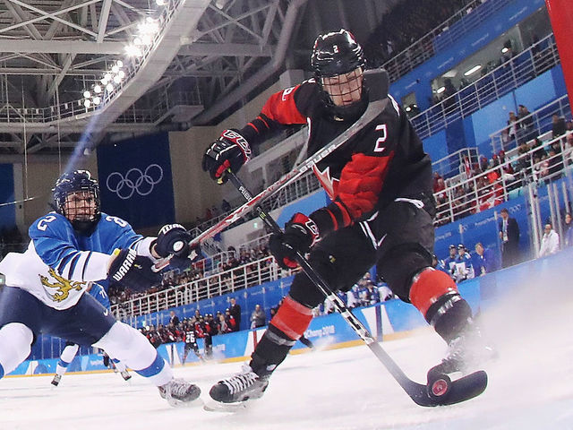 GANGNEUNG, SOUTH KOREA - FEBRUARY 13: Meghan Agosta #2 of Canada scores a goal in the first period against Finland during the Women's Ice Hockey Preliminary Round - Group A game on day four of the PyeongChang 2018 Winter Olympic Games at Kwandong Hockey Centre on February 13, 2018 in Gangneung, South Korea.
