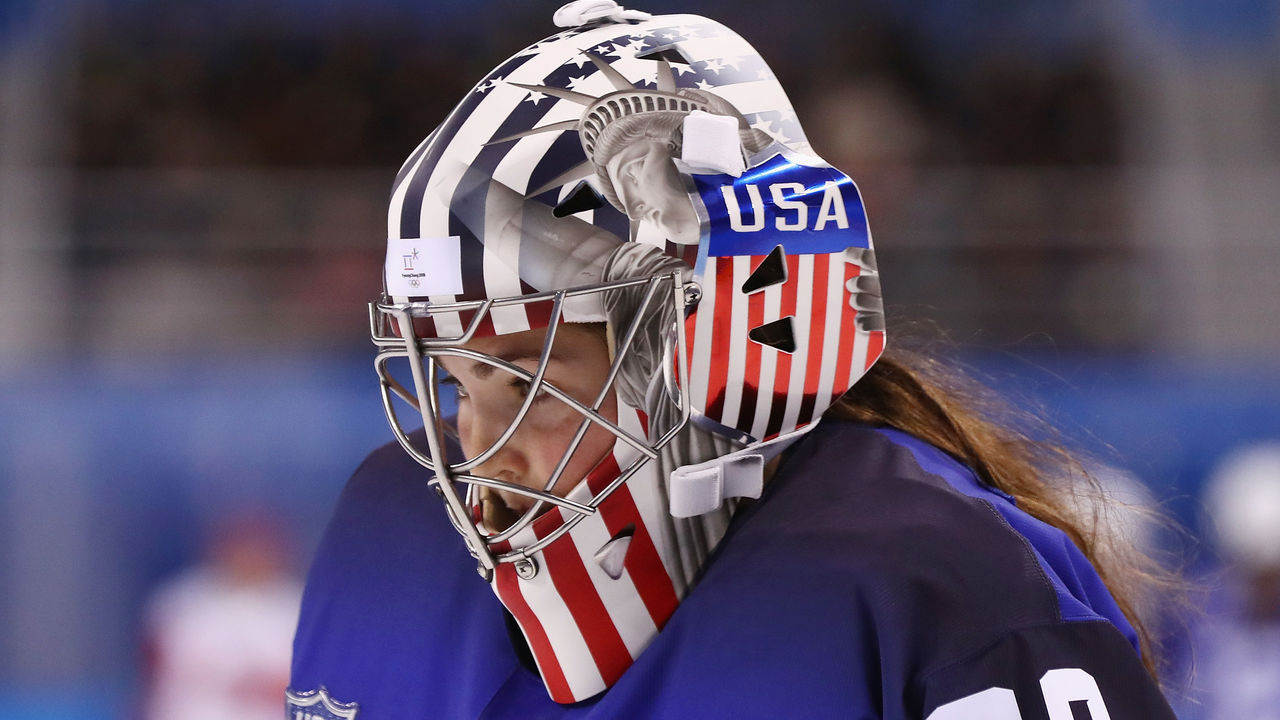 GANGNEUNG, SOUTH KOREA - FEBRUARY 13: A detailed view of the mask of Nicole Hensley #29 of the United States during the Women's Ice Hockey Preliminary Round - Group A game against Olympic Athletes from Russia on day four of the PyeongChang 2018 Winter Olympic Games at Kwandong Hockey Centre on February 13, 2018 in Gangneung, South Korea.