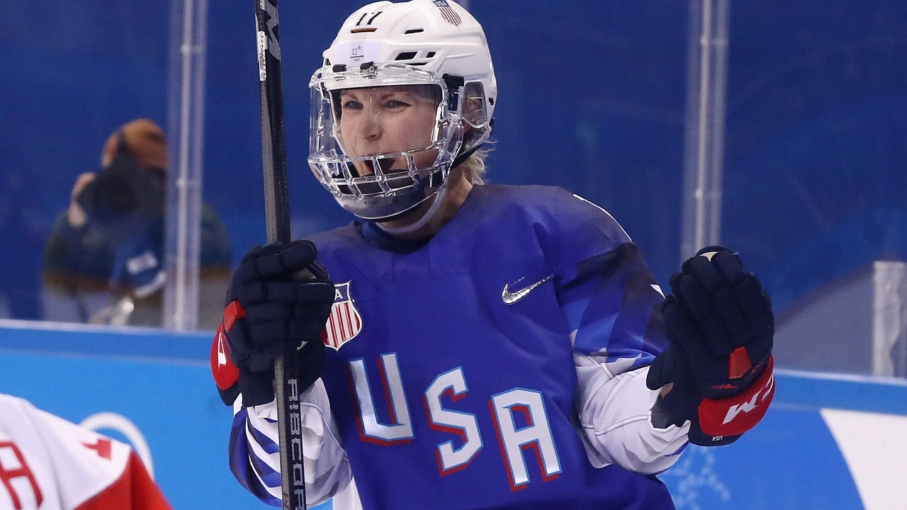 GANGNEUNG, SOUTH KOREA - FEBRUARY 13: Jocelyne Lamoureux #17 of the United States celebrates scoring a second period goal against Olympic Athletes from Russia during the Women's Ice Hockey Preliminary Round - Group A game on day four of the PyeongChang 2018 Winter Olympic Games at Kwandong Hockey Centre on February 13, 2018 in Gangneung, South Korea.