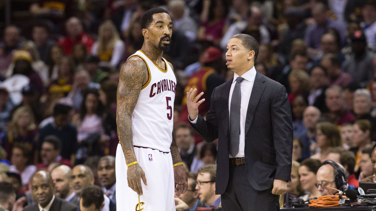 CLEVELAND, OH - MARCH 7: J.R. Smith #5 of the Cleveland Cavaliers talks to head coach Tyronn Lue during the first half at Quicken Loans Arena on March 7, 2016 in Cleveland, Ohio. NOTE TO USER: User expressly acknowledges and agrees that, by downloading and/or using this photograph, user is consenting to the terms and conditions of the Getty Images License Agreement. Mandatory copyright notice.