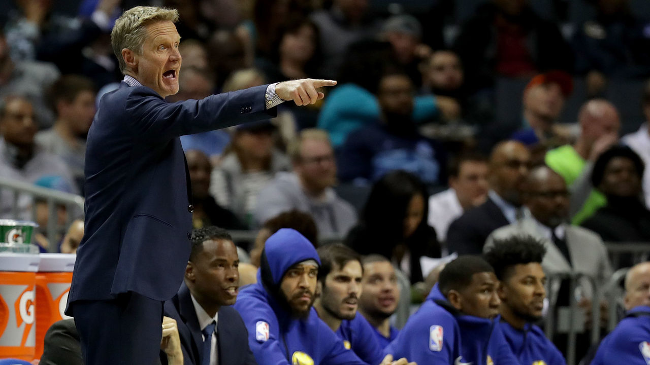 CHARLOTTE, NC - DECEMBER 06: Head coach Steve Kerr of the Golden State Warriors yells to his team against the Charlotte Hornets during their game at Spectrum Center on December 6, 2017 in Charlotte, North Carolina.