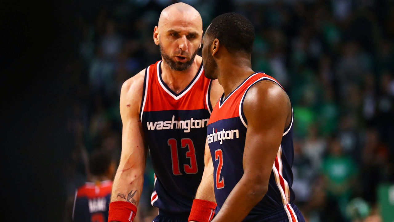 BOSTON, MA - APRIL 30: Marcin Gortat #13 of the Washington Wizards talks with John Wall #2 during the third quarter of Game One of the Eastern Conference Semifinals against the Boston Celtics at TD Garden on April 30, 2017 in Boston, Massachusetts.