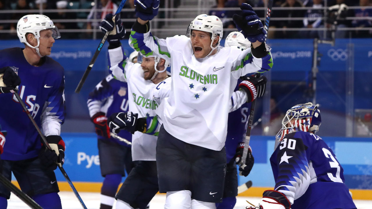 GANGNEUNG, SOUTH KOREA - FEBRUARY 14: Jan Urbas #26 of Slovenia celebrates a goal scored by Blaz Gregorc #15 against Ryan Zapolski #30 of the United States in the third period during the Men's Ice Hockey Preliminary Round Group B game on day five of the PyeongChang 2018 Winter Olympics at Kwandong Hockey Centre on February 14, 2018 in Gangneung, South Korea.