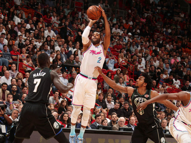 MIAMI, FL - FEBRUARY 9: Wayne Ellington #2 of the Miami Heat shoots the ball during the game against the Milwaukee Bucks on February 9, 2018 at American Airlines Arena in Miami, Florida. Mandatory Copyright Notice: Copyright 2018 NBAE
