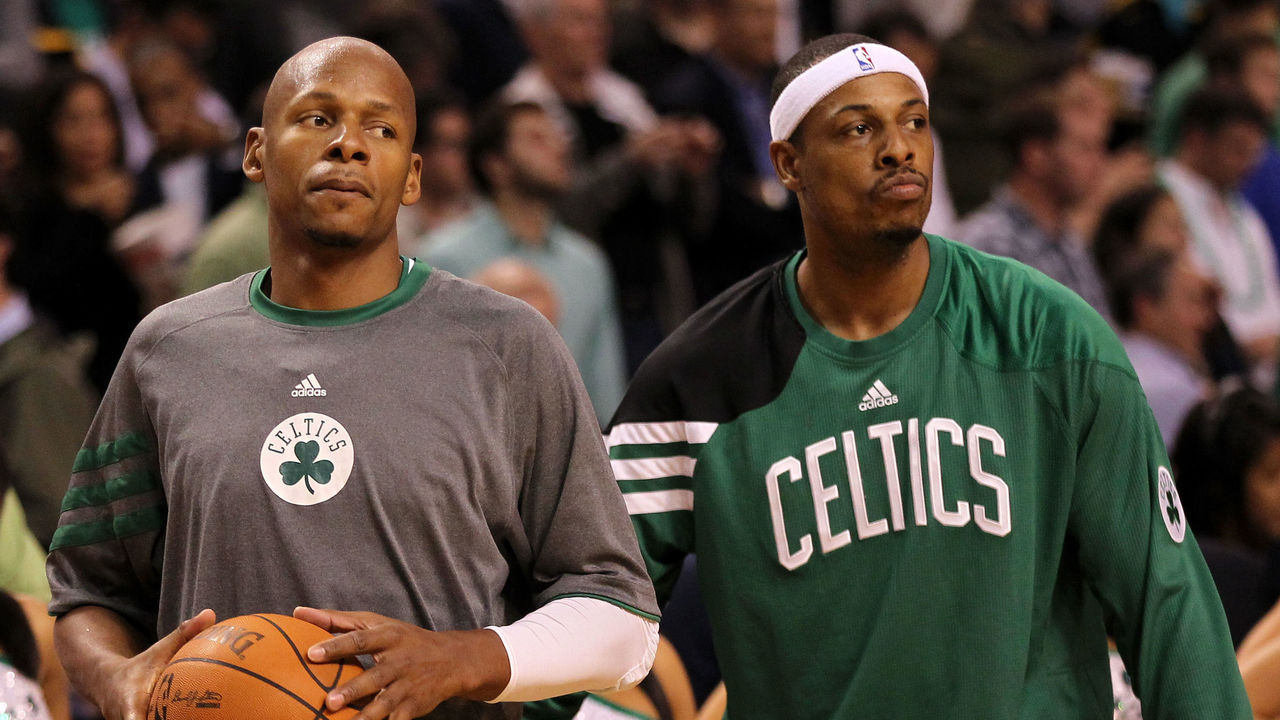 BOSTON, MA - JUNE 07: (L-R) Ray Allen #20 and Paul Pierce #34 of the Boston Celtics look on during warm ups against the Miami Heat in Game Six of the Eastern Conference Finals in the 2012 NBA Playoffs on June 7, 2012 at TD Garden in Boston, Massachusetts.