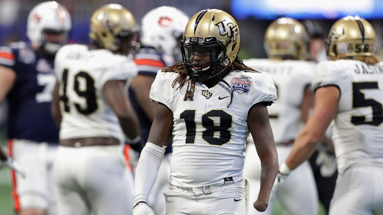 ATLANTA, GA - JANUARY 01: Shaquem Griffin #18 of the UCF Knights looks on in the second half against the Auburn Tigers during the Chick-fil-A Peach Bowl at Mercedes-Benz Stadium on January 1, 2018 in Atlanta, Georgia.