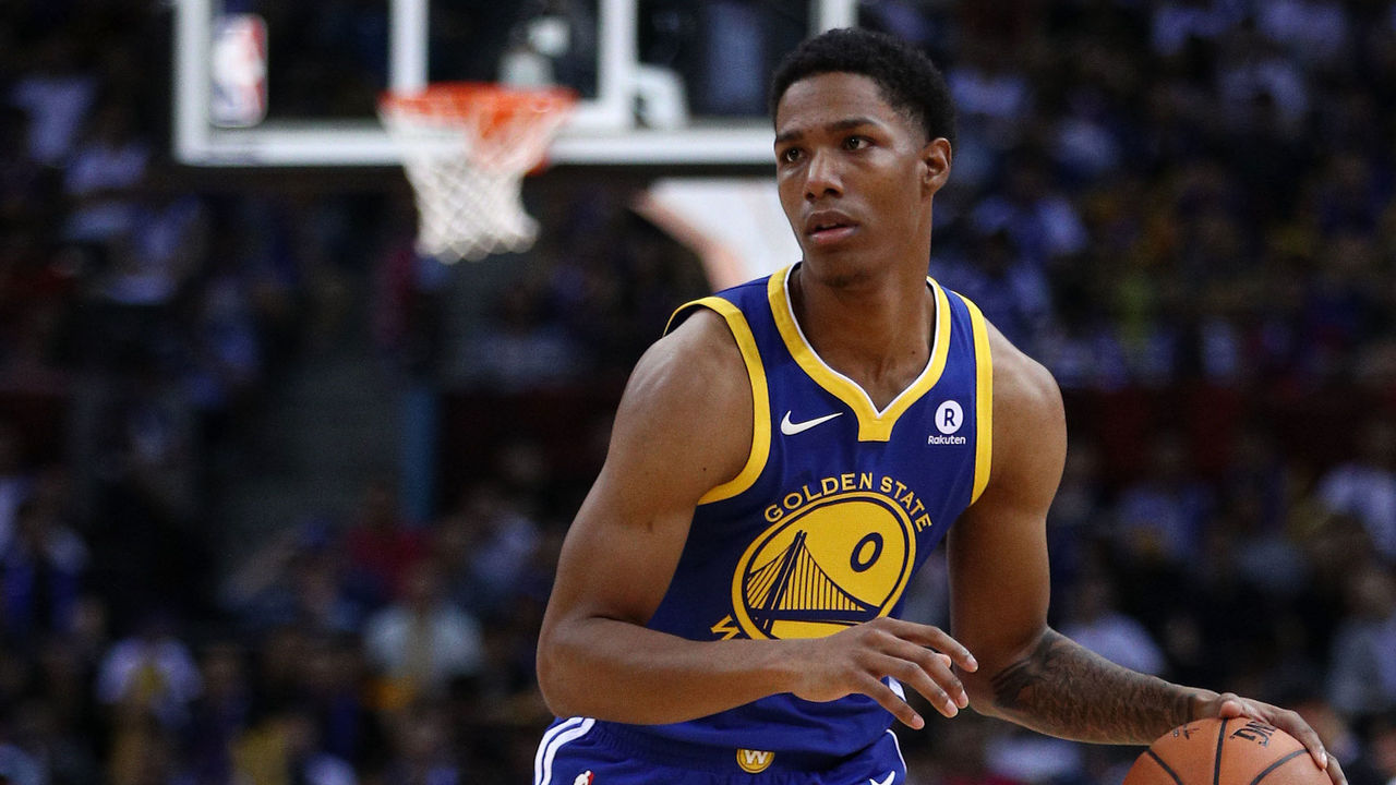 SHENZHEN, CHINA - OCTOBER 05: Patrick McCaw #0 of the Golden State Warriors in action during the game between the Minnesota Timberwolves and the Golden State Warriors as part of 2017 NBA Global Games China at Universidade Center on October 5, 2017 in Shenzhen, China.
