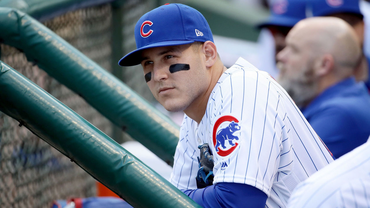 CHICAGO, IL - OCTOBER 09: Anthony Rizzo #44 of the Chicago Cubs looks on from the dugout before game three of the National League Division Series against the Washington Nationals at Wrigley Field on October 9, 2017 in Chicago, Illinois.