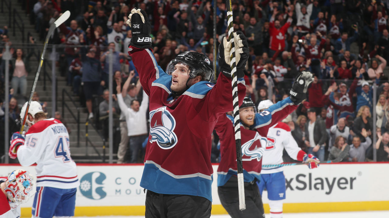 DENVER, CO - FEBRUARY 14: Alexander Kerfoot #13 of the Colorado Avalanche celebrates after a goal against the Montreal Canadiens at the Pepsi Center on February 14, 2018 in Denver, Colorado. The Avalanche defeated the Canadiens 2-0.