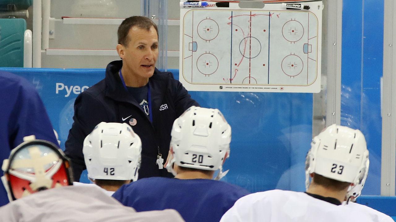 PYEONGCHANG-GUN, SOUTH KOREA - FEBRUARY 09: Head coach Tony Granato of the Men's USA Ice Hockey Team works practice ahead of the PyeongChang 2018 Winter Olympic Games at the Gangneung Hockey Centre on February 9, 2018 in Pyeongchang-gun, South Korea.