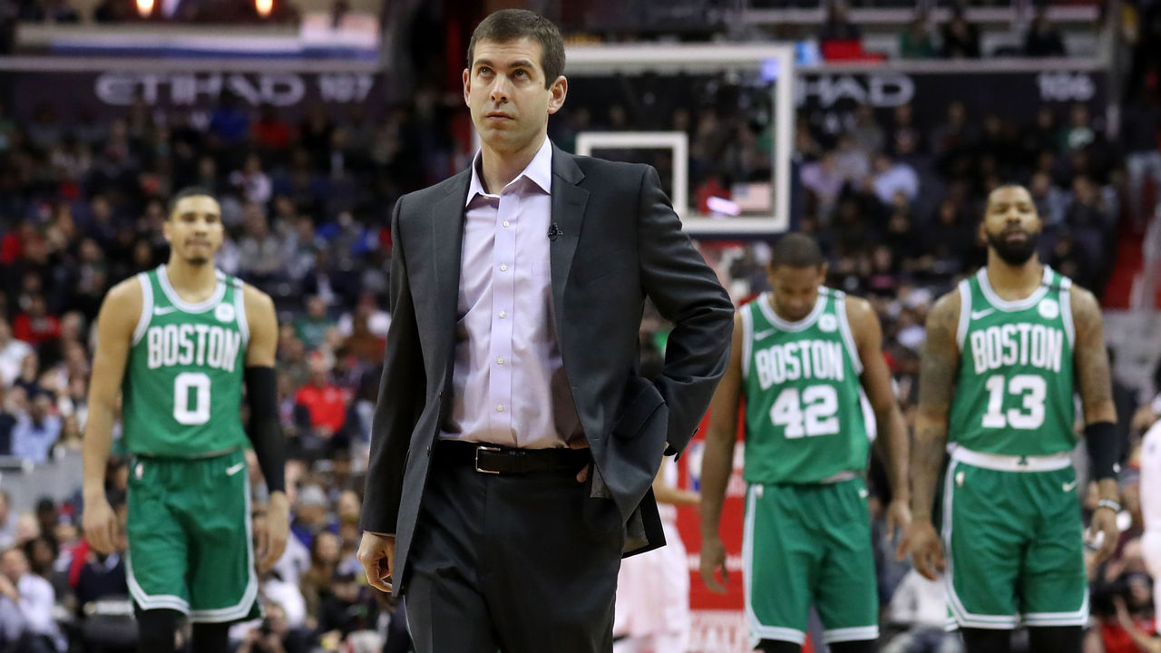 WASHINGTON, DC - FEBRUARY 8: Head coach Brad Stevens of the Boston Celtics calls a time out against the Washington Wizards in the first half at Capital One Arena on February 8, 2018 in Washington, DC.
