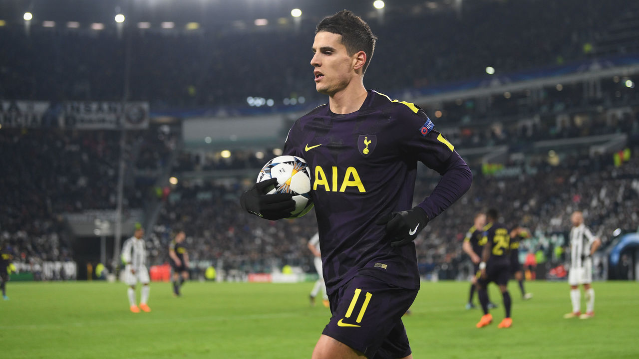 TURIN, ITALY - FEBRUARY 13: Erik Lamela of Tottenham in action during the UEFA Champions League Round of 16 First Leg match between Juventus and Tottenham Hotspur at Allianz Stadium on February 13, 2018 in Turin, Italy.