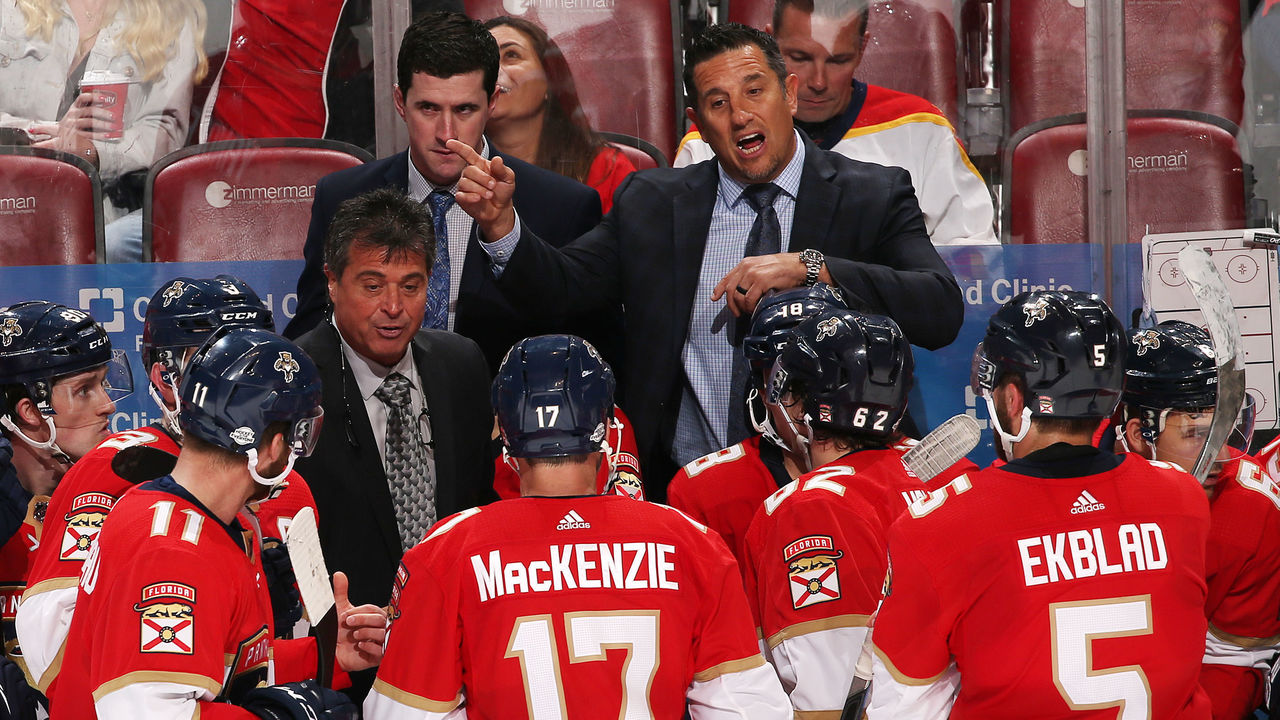 SUNRISE, FL - FEBRUARY 6: Florida Panthers Head coach Bob Boughner (rear right) of the Florida Panthers directs the players during a break in action against Vancouver Canucks at the BB&T Center on February 6, 2018 in Sunrise, Florida. The Panthers defeated the Canucks 3-1.
