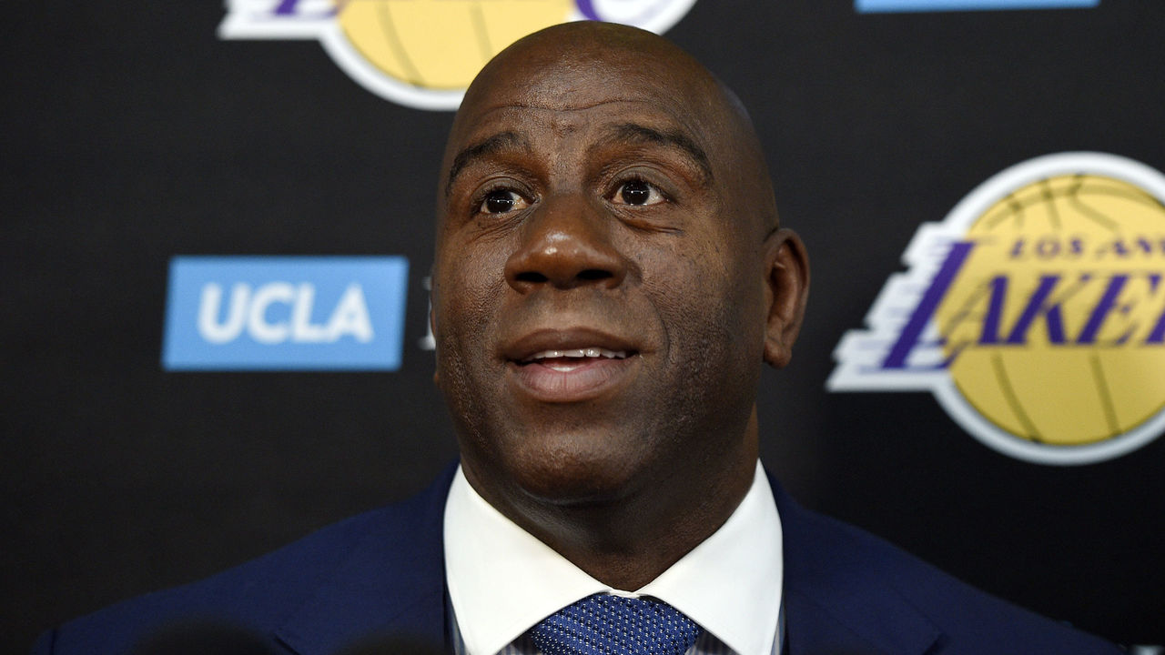 EL SEGUNDO, CA - SEPTEMBER 25: Earvin 'Magic' Johnson, president of basketball operations of the Los Angeles Lakers, speaks during media day September 25, 2017, in El Segundo, California. NOTE TO USER: User expressly acknowledges and agrees that, by downloading and/or using this photograph, user is consenting to the terms and conditions of the Getty Images License Agreement.