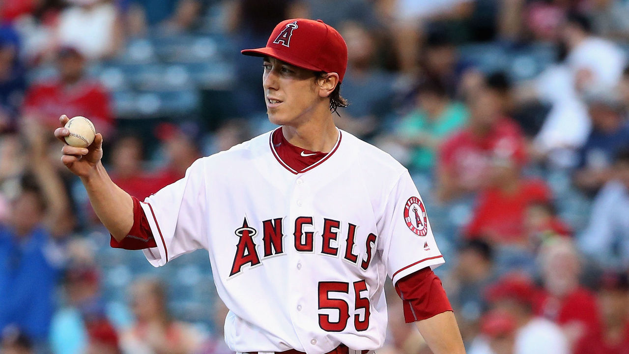 ANAHEIM, CA - JULY 19: Tim Lincecum #55 of the Los Angeles Angels of Anaheim reacts to giving up a solo homerun to Robinson Chirinos #61 of the Texas Rangers during the second inning of a baseball game at Angel Stadium of Anaheim on July 19, 2016 in Anaheim, California.