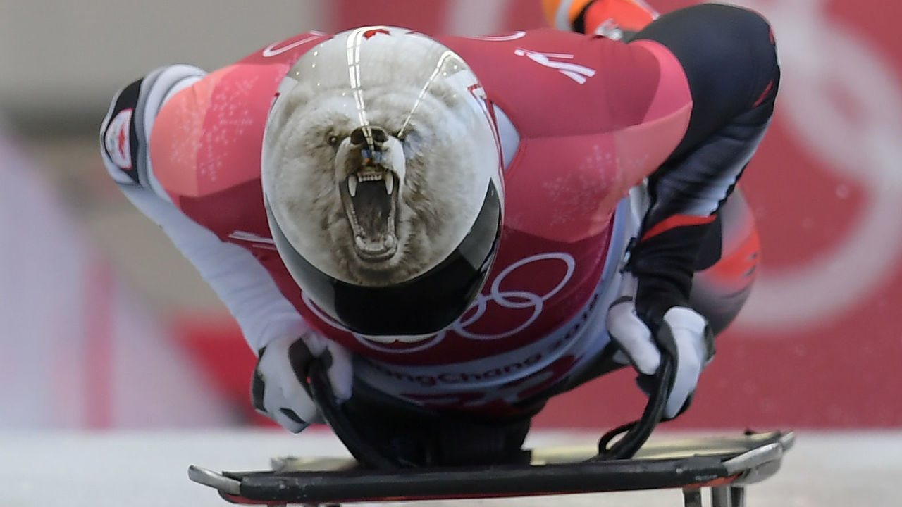 Canada's Barrett Martineau competes in the mens's skeleton heat 1 during the Pyeongchang 2018 Winter Olympic Games, at the Olympic Sliding Centre on February 15, 2018 in Pyeongchang. / AFP PHOTO / MOHD RASFAN