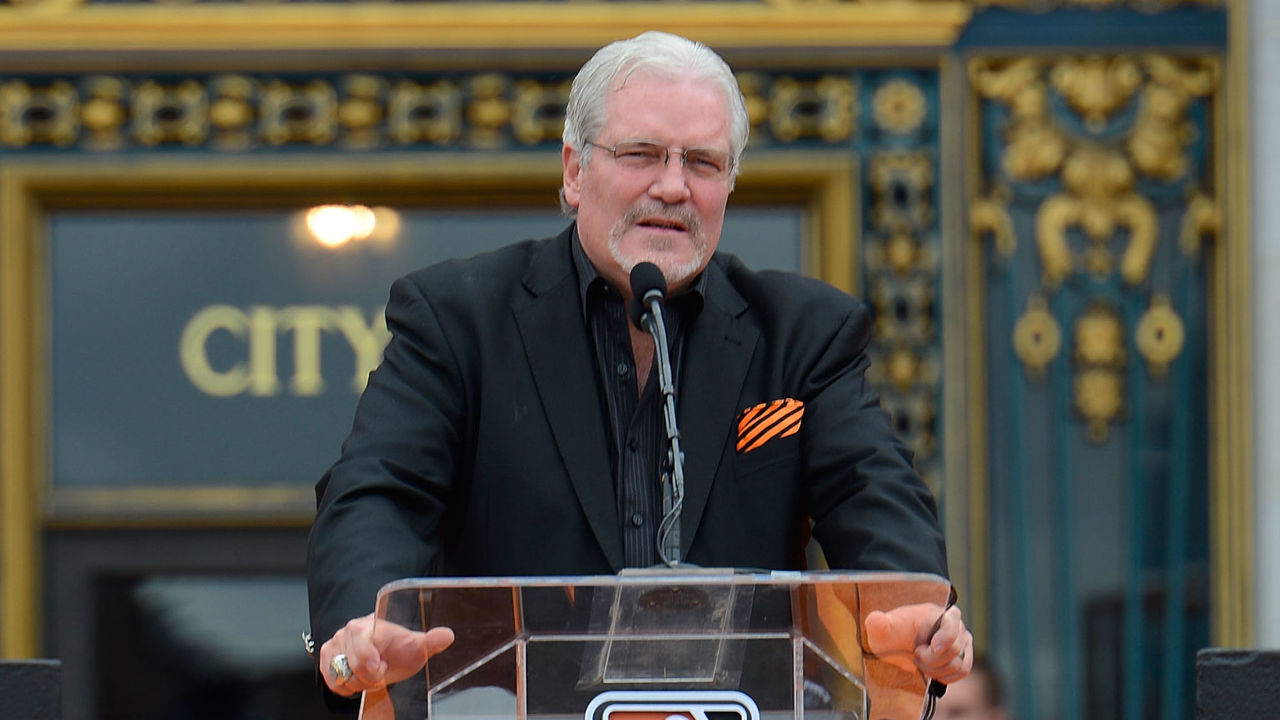 SAN FRANCISCO, CA - OCTOBER 31: Senior Vice President and General Manager Brian Sabean of the San Francisco Giants speaks to the San Francisco Giants fans during the Giants' victory parade and celebration on October 31, 2012 in San Francisco, California. The Giants celebrated their 2012 World Series victory over the Detroit Tigers.