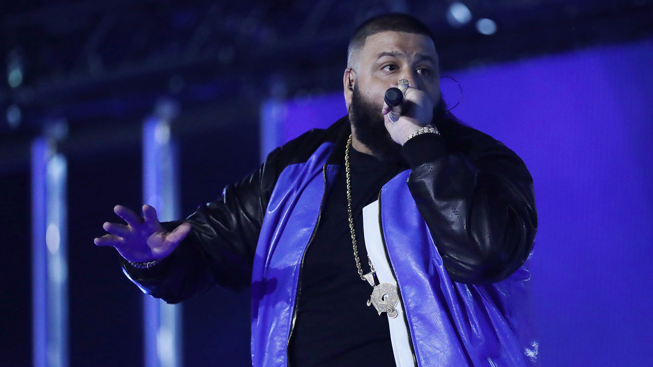 NEW ORLEANS, LA - FEBRUARY 18: DJ Khaled performs during the 2017 Verizon Slam Dunk Contest at Smoothie King Center on February 18, 2017 in New Orleans, Louisiana. NOTE TO USER: User expressly acknowledges and agrees that, by downloading and/or using this photograph, user is consenting to the terms and conditions of the Getty Images License Agreement.