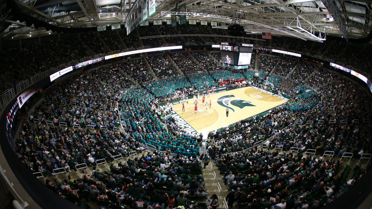 EAST LANSING, MI - JANUARY 26: General view of the Breslin Center during the Michigan State Spartans and Wisconsin Badgers basketball game on January 26, 2018 in East Lansing, Michigan.