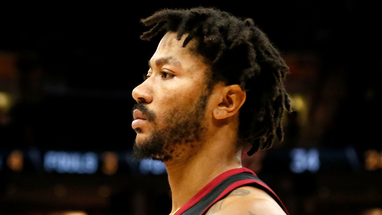 CLEVELAND, OH - JANUARY 20: Derrick Rose #1 of the Cleveland Cavaliers waits for the ball to be put into play during the game against the Oklahoma City Thunder at Quicken Loans Arena on January 20, 2018 in Cleveland, Ohio.