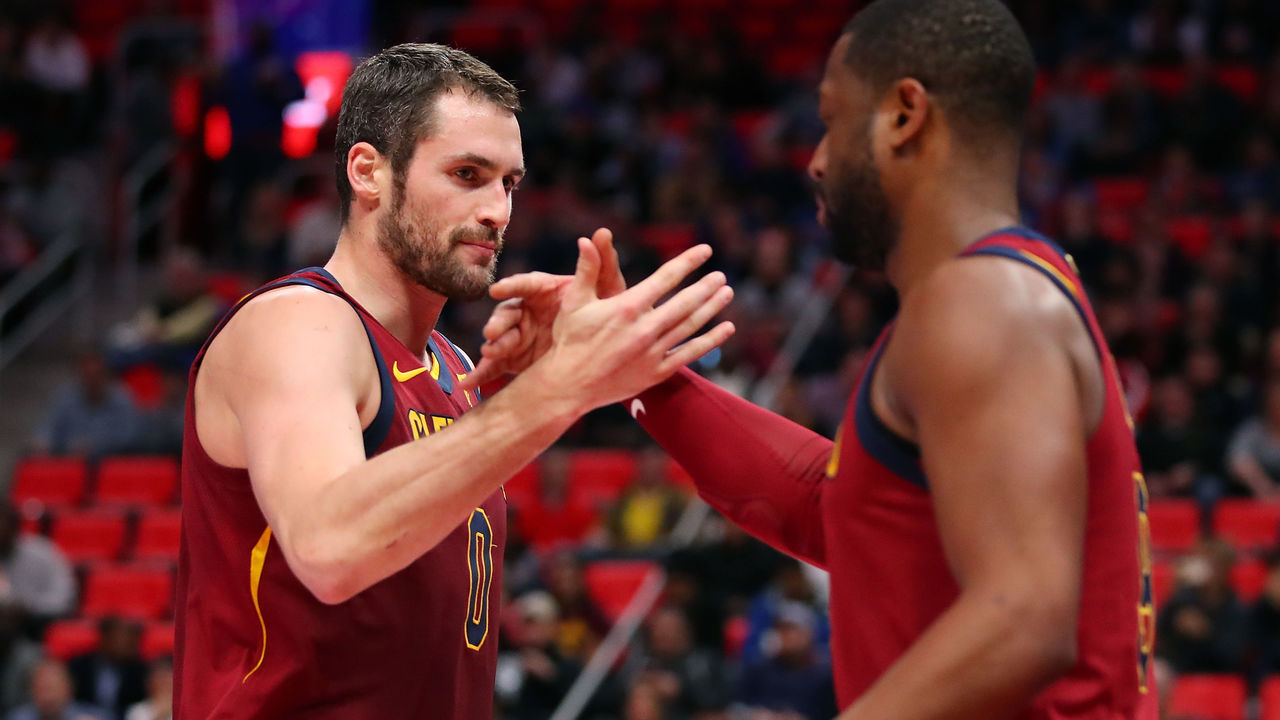 DETROIT, MI - NOVEMBER 20: Kevin Love #0 of the Cleveland Cavaliers celebrates a first half basket with Dwyane Wade #9 while playing the Detroit Pistons at Little Caesars Arena on November 20, 2017 in Detroit, Michigan. Cleveland won the game 116-88.