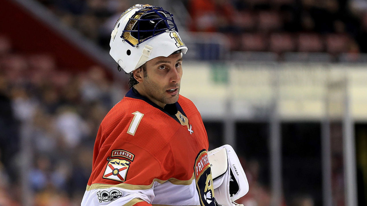 SUNRISE, FL - OCTOBER 20: Roberto Luongo #1 of the Florida Panthers looks on during a game against the Pittsburgh Penguins at BB&T Center on October 20, 2017 in Sunrise, Florida.