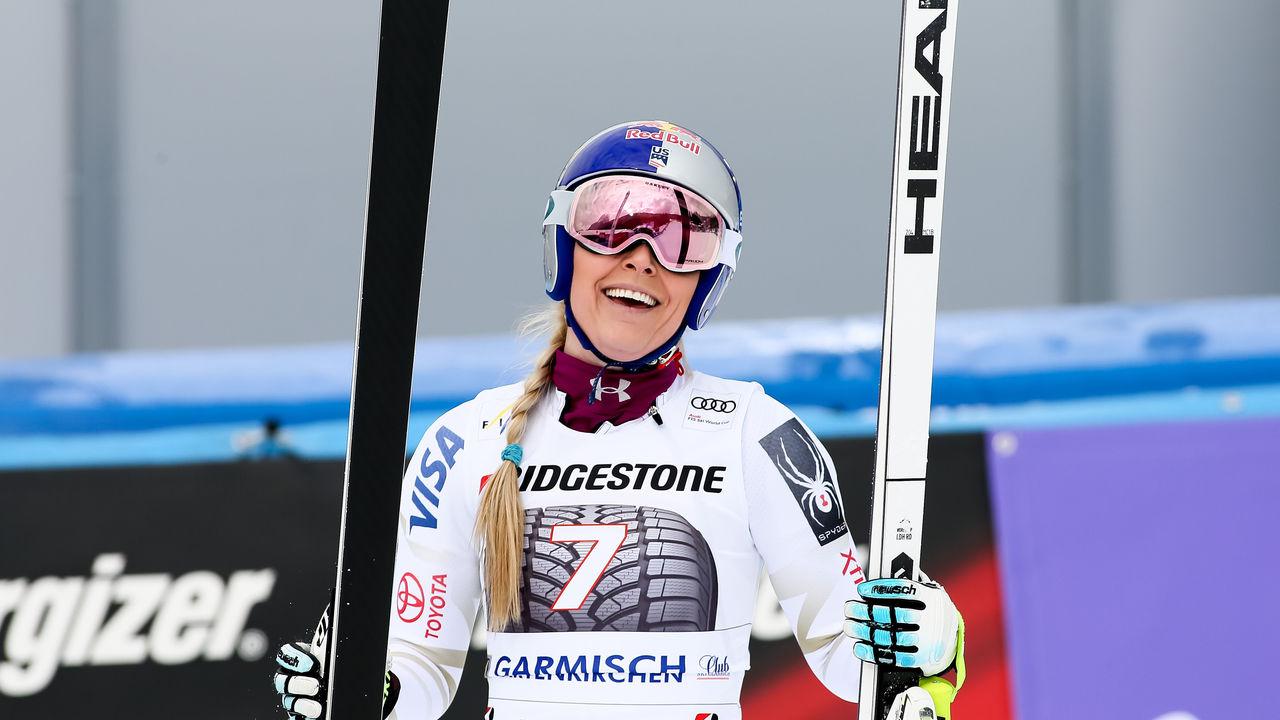GARMISCH-PARTENKIRCHEN, GERMANY - FEBRUARY 04: Lindsey Vonn of USA celebrates during the Audi FIS Alpine Ski World Cup Women's Downhill on February 4, 2018 in Garmisch-Partenkirchen, Germany.