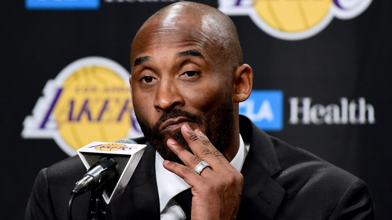 LOS ANGELES, CA - DECEMBER 18: Kobe Bryant speaks to the media at a press conference before his #8 and #24 jerseys are retired by the Los Angeles Lakers at Staples Center on December 18, 2017 in Los Angeles, California.