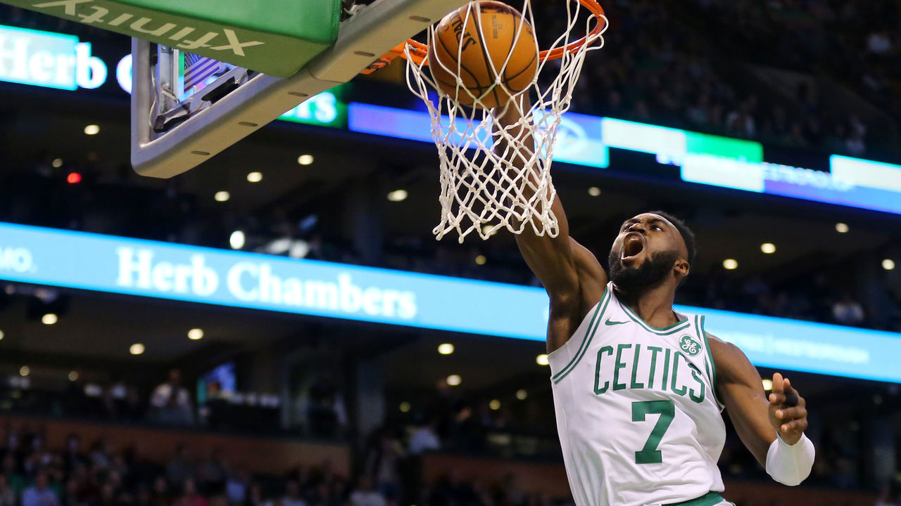BOSTON, MA - DECEMBER 4: Jaylen Brown #7 of the Boston Celtics dunks during the second half of the game against the Milwaukee Bucks at TD Garden on December 4, 2017 in Boston, Massachusetts. The Celtics defeat the Bucks 111-100.