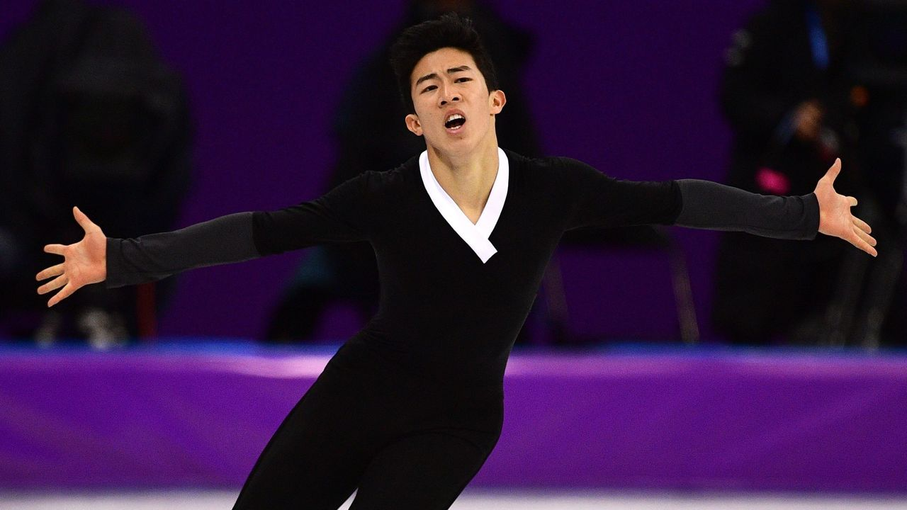 USA's Nathan Chen competes in the men's single skating free skating of the figure skating event during the Pyeongchang 2018 Winter Olympic Games at the Gangneung Ice Arena in Gangneung on February 17, 2018. / AFP PHOTO / Roberto SCHMIDT