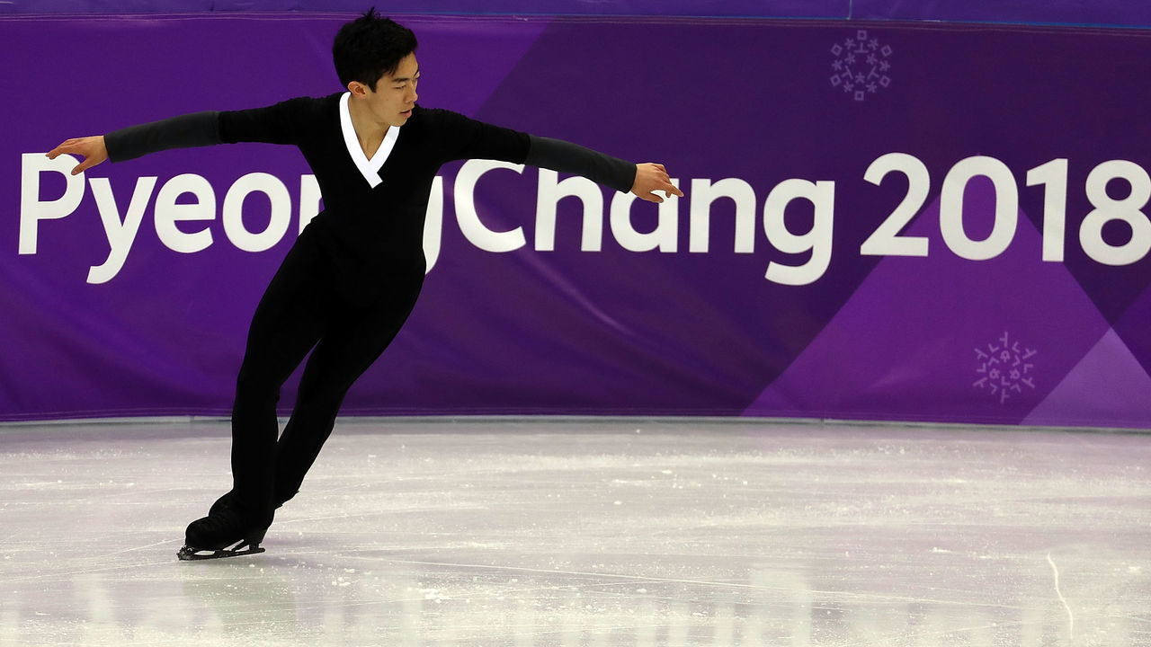 PYEONGCHANG-GUN, SOUTH KOREA - FEBRUARY 17: Nathan Chen of the United States competes during the Men's Single Free Program on day eight of the PyeongChang 2018 Winter Olympic Games at Gangneung Ice Arena on February 17, 2018 in Gangneung, South Korea.