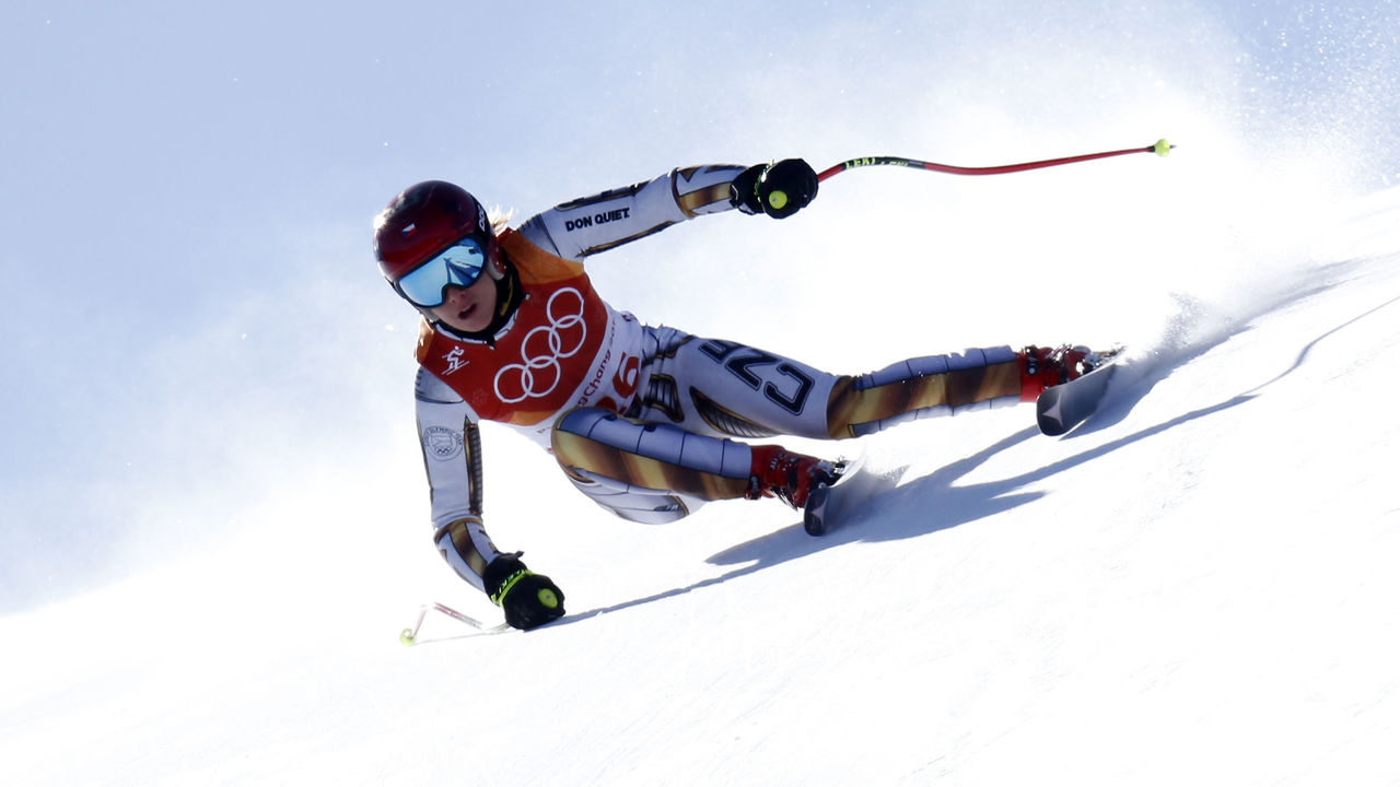 PYEONGCHANG-GUN, SOUTH KOREA - FEBRUARY 17: Ester Ledecka of Czech Republic wins the gold medal during the Alpine Skiing Women's Super-G at Jeongseon Alpine Centre on February 17, 2018 in Pyeongchang-gun, South Korea.