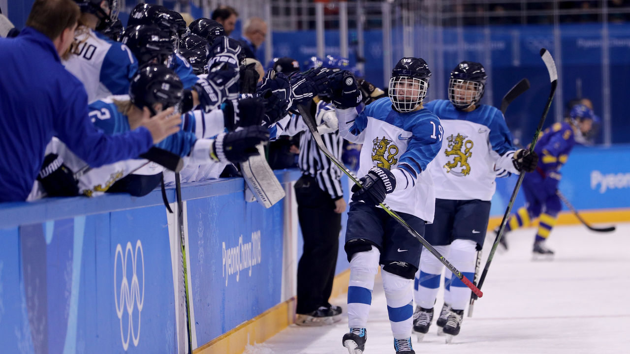 GANGNEUNG, SOUTH KOREA - FEBRUARY 17: Petra Nieminen #19 of Finland celebrates with teammates after scoring a goal against Sweden in the first period during the Ice Hockey Women's Play-offs Quarterfinals on day eight of the PyeongChang 2018 Winter Olympic Games at Kwangdong Hockey Centre on February 17, 2018 in Gangneung, South Korea.