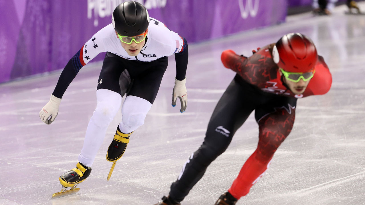 GANGNEUNG, SOUTH KOREA - FEBRUARY 17: Samuel Girard of Canada and John-Henry Krueger of the United States compete during the Short Track Speed Skating Men's 1000m Final A on day eight of the PyeongChang 2018 Winter Olympic Games at Gangneung Ice Arena on February 17, 2018 in Gangneung, South Korea.