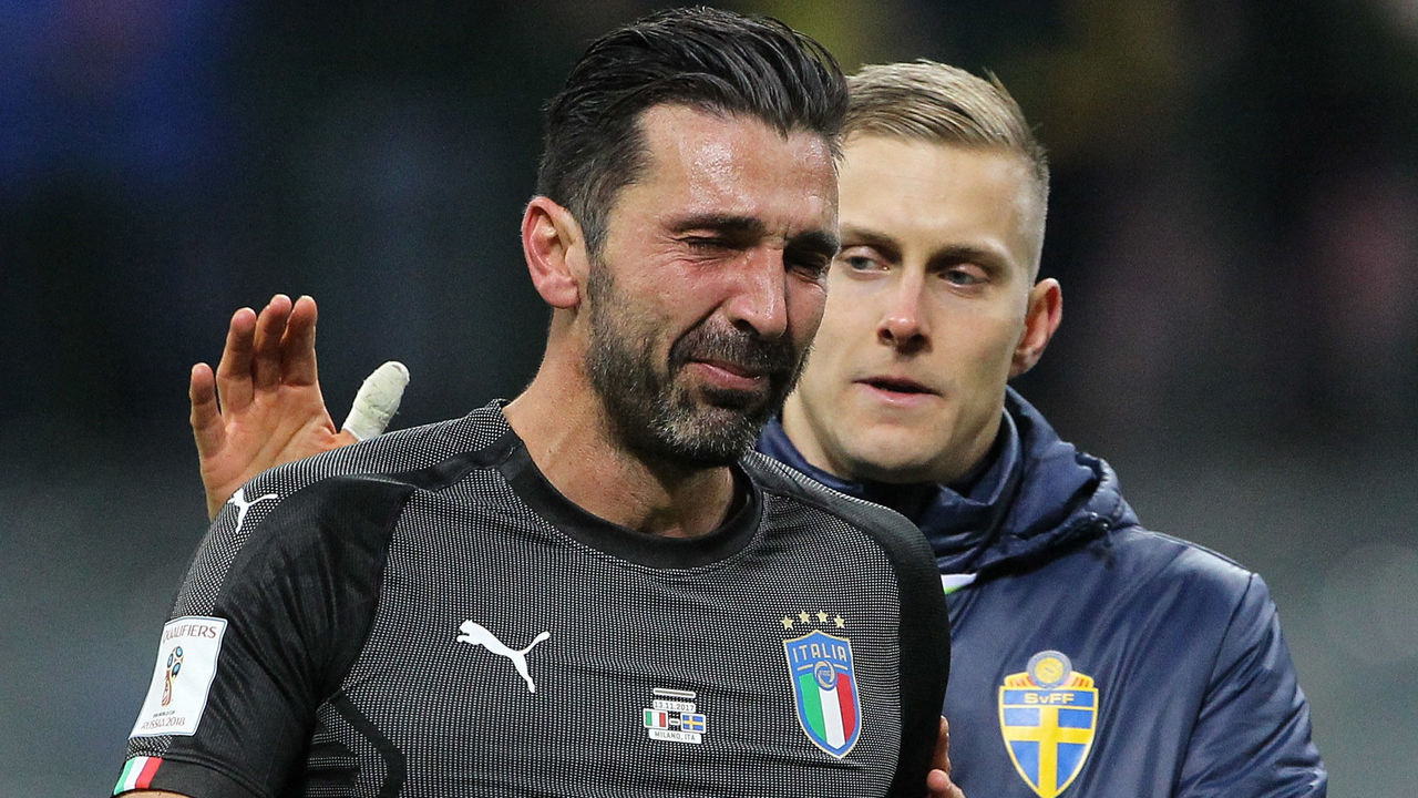 MILAN, ITALY - NOVEMBER 13: Gianluigi Buffon of Italy cries after loosing at the end of the FIFA 2018 World Cup Qualifier Play-Off: Second Leg between Italy and Sweden at San Siro Stadium on November 13, 2017 in Milan, Sweden.