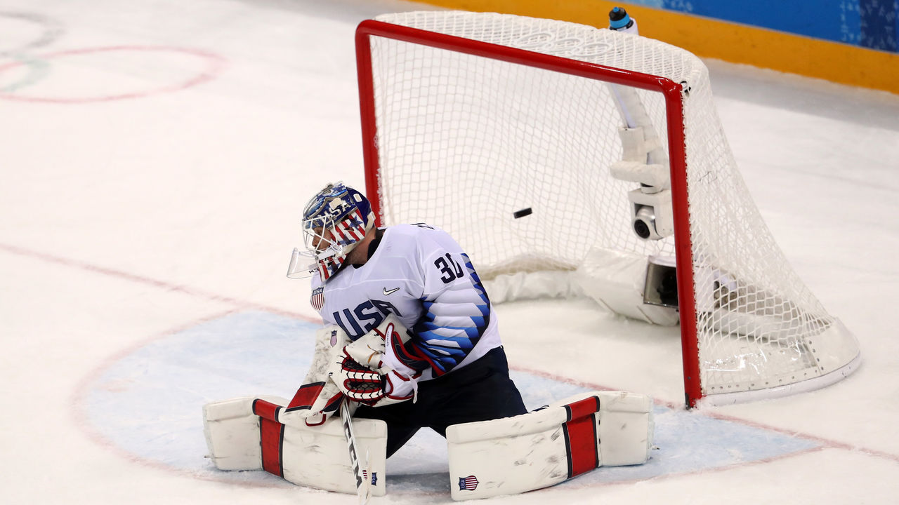 GANGNEUNG, SOUTH KOREA - FEBRUARY 17: Ryan Zapolski #30 of the United States reacts after giving up a goal to Ilya Kovalchuk #71 of Olympic Athlete from Russia during the Men's Ice Hockey Preliminary Round Group B game on day eight of the PyeongChang 2018 Winter Olympic Games at Gangneung Hockey Centre on February 17, 2018 in Gangneung, South Korea.