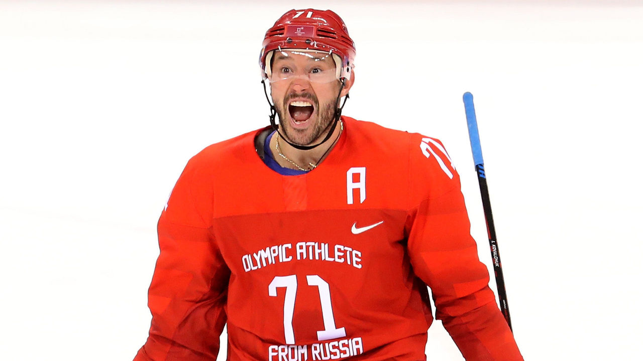 GANGNEUNG, SOUTH KOREA - FEBRUARY 16: Ilya Kovalchuk #71 of Olympic Athlete from Russia celebrates after scoring a goal against Slovenia during the Men's Ice Hockey Preliminary Round Group B game at Gangneung Hockey Centre on February 16, 2018 in Gangneung, South Korea.