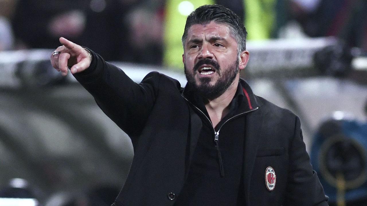 AC Milan's Head coach Gennaro Gattuso reacts during the UEFA Europa League round of 32 first-leg football match between PFC Ludogorets Razgrad and AC Milan in Razgrad on February 15, 2018. / AFP PHOTO / NIKOLAY DOYCHINOV