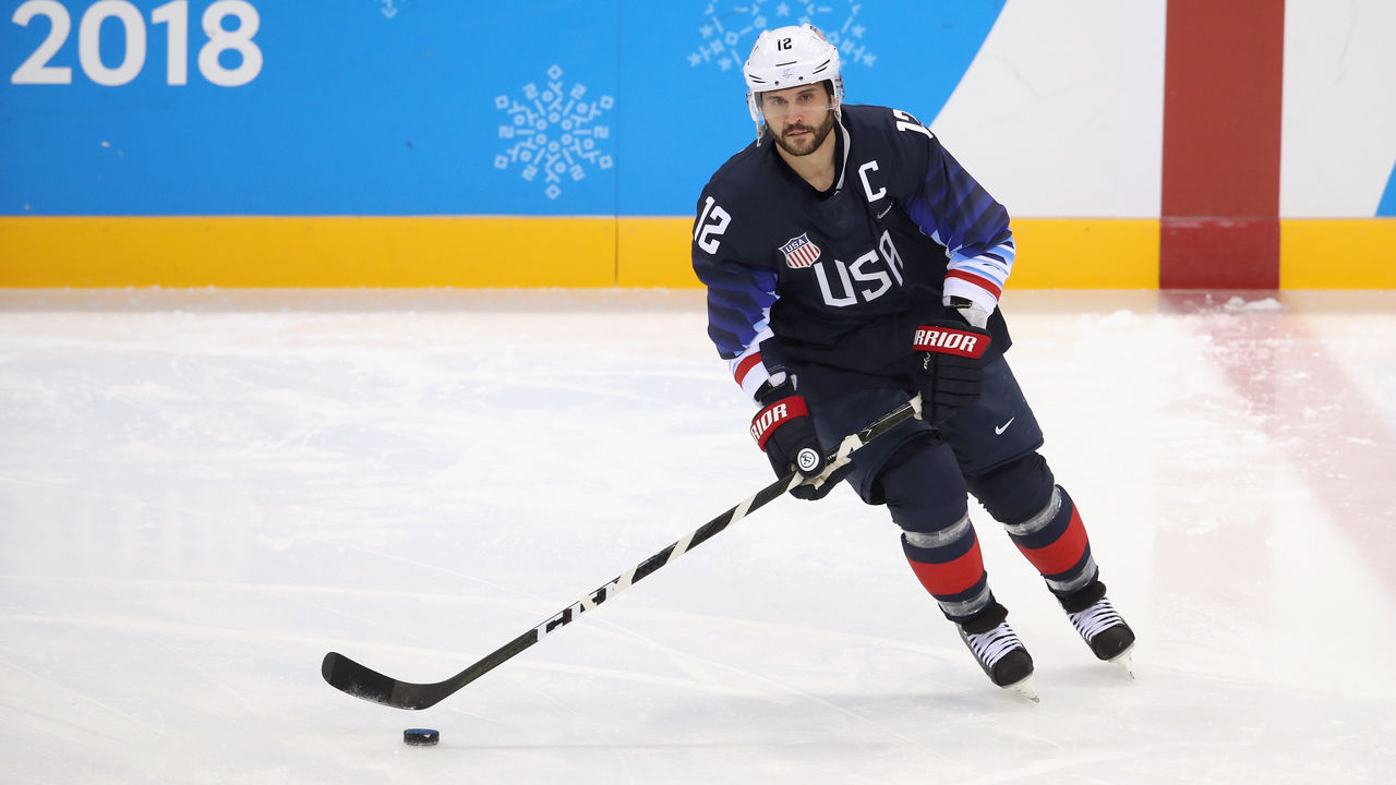 GANGNEUNG, SOUTH KOREA - FEBRUARY 16: Brian Gionta #12 of the United States warms up prior to the Men's Ice Hockey Preliminary Round Group B game against Slovakia at Gangneung Hockey Centre on February 16, 2018 in Gangneung, South Korea.