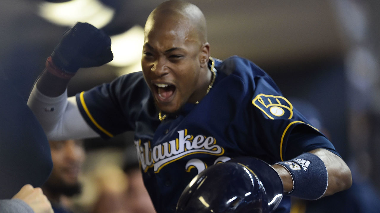 MILWAUKEE, WI - AUGUST 15: Keon Broxton #23 of the Milwaukee Brewers celebrates a home run against the Pittsburgh Pirates during the seventh inning of a game at Miller Park on August 15, 2017 in Milwaukee, Wisconsin.