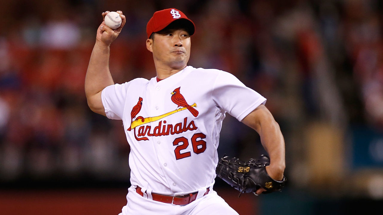 ST. LOUIS, MO - MAY 4: Seung Hwan Oh #26 of the St. Louis Cardinals pitches during a baseball game against the Philadelphia Phillies at Busch Stadium on May 4, 2016 in St. Louis, Missouri.