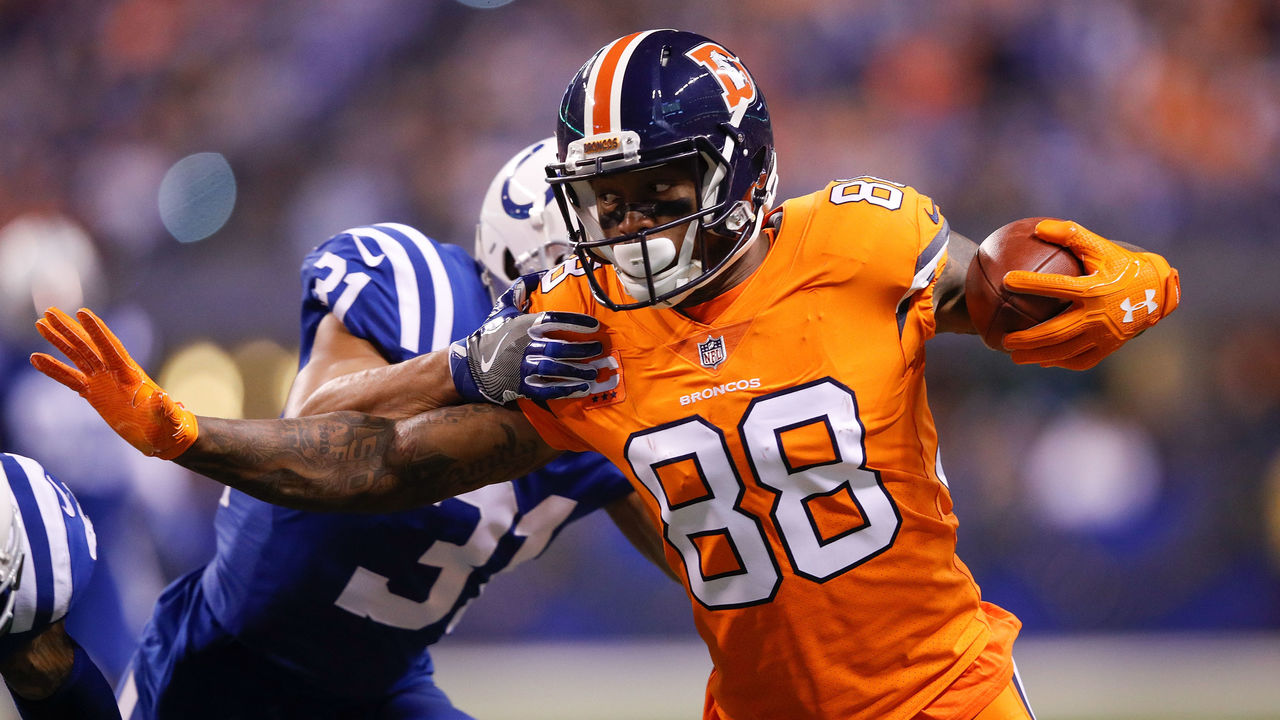 INDIANAPOLIS, IN - DECEMBER 14: Demaryius Thomas #88 of the Denver Broncos pushes off a tackle from Quincy Wilson #31 of the Indianapolis Colts during the first half at Lucas Oil Stadium on December 14, 2017 in Indianapolis, Indiana.