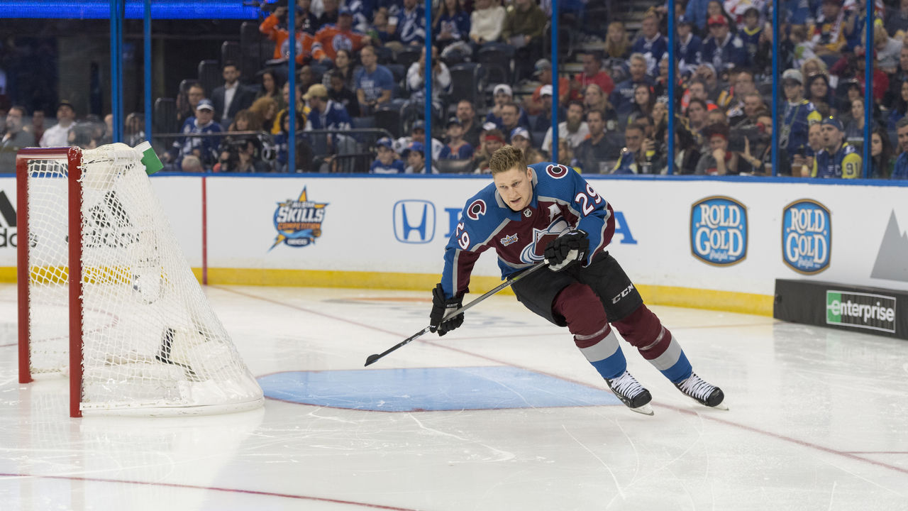 TAMPA, FL - JANUARY 27: Central Division forward Nathan MacKinnon (29) competes in the fastest skater competition during the NHL All-Star Skills Competition on January 27, 2018, at Amalie Arena in Tampa, FL.
