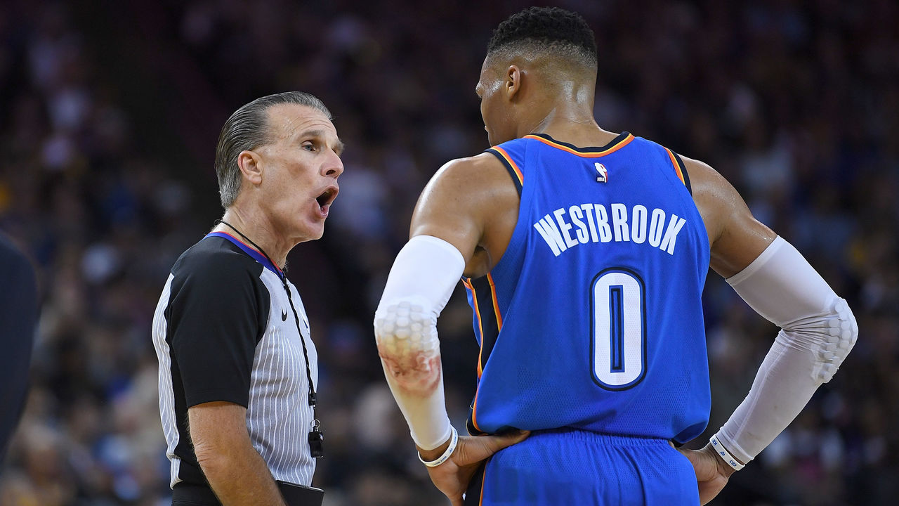 OAKLAND, CA - FEBRUARY 06: Russell Westbrook #0 of the Oklahoma City Thunder complains of a no call to referee Ken Mauer #41 during an NBA basketball game against the Golden State Warriors at ORACLE Arena on February 6, 2018 in Oakland, California.
