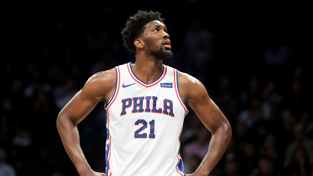 NEW YORK, NY - JANUARY 31: Joel Embiid #21 of the Philadelphia 76ers reacts in the first quarter against the Brooklyn Nets during their game at Barclays Center on January 31, 2018 in the Brooklyn borough of New York City.