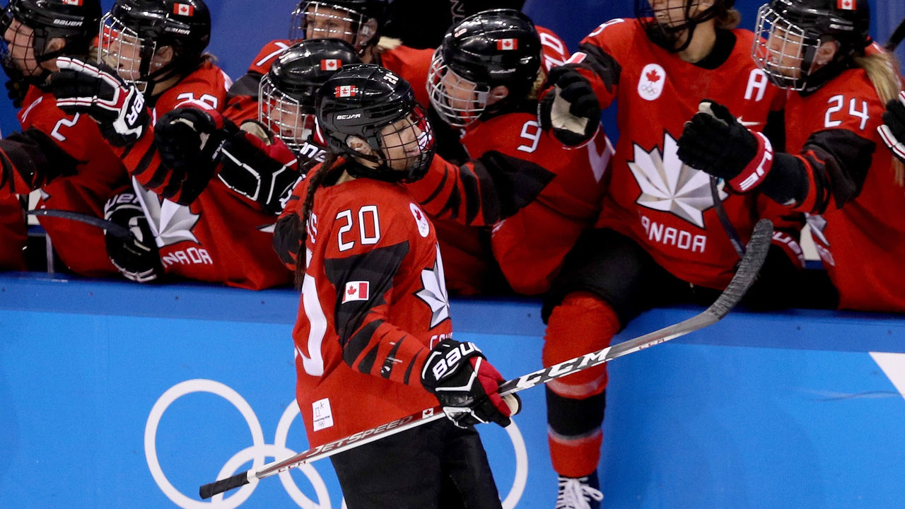 GANGNEUNG, SOUTH KOREA - FEBRUARY 15: Sarah Nurse #20 of Canada celebrates after scoring in the second period against the United States during the Women's Ice Hockey Preliminary Round Group A game on day six of the PyeongChang 2018 Winter Olympic Games at Kwandong Hockey Centre on February 15, 2018 in Gangneung, South Korea.