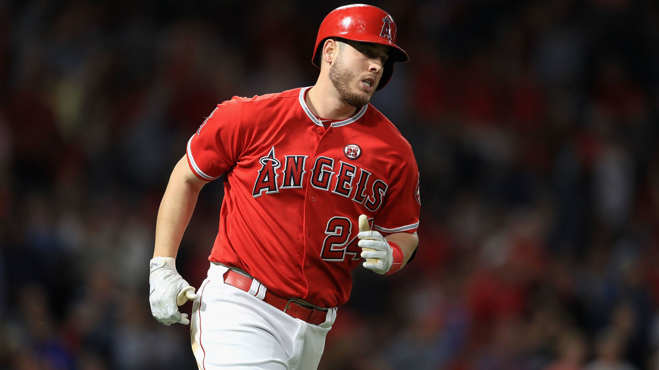 ANAHEIM, CA - SEPTEMBER 20: C.J. Cron #24 of the Los Angeles Angels of Anaheim runs to first base after hitting a solo homerun during the fifth inning of a game against the Cleveland Indians at Angel Stadium of Anaheim on September 20, 2017 in Anaheim, California.