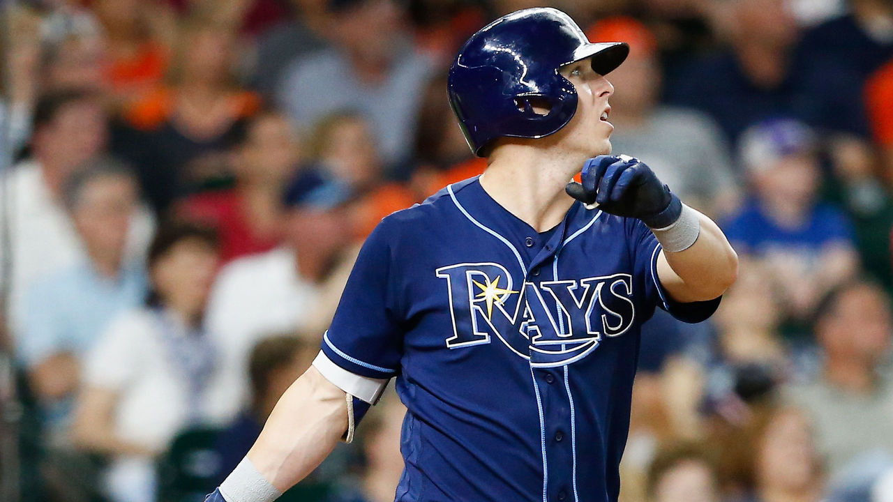 HOUSTON, TX - JULY 31: Corey Dickerson #10 of the Tampa Bay Rays hits a home run in the third inning against the Houston Astros at Minute Maid Park on July 31, 2017 in Houston, Texas.