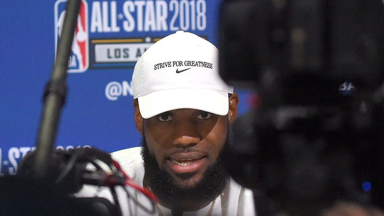 LOS ANGELES, CA - FEBRUARY 17: LeBron James #23 of Team LaBron is interviewed for the upcoming 2018 NBA All-Star game during Media Day at the Verizon Up Arena at LACC on February 17, 2018 in Los Angeles, California.